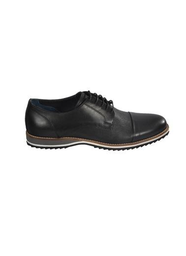 Luciano Bellini E405 yuvarlak burun detaylı bağcıklı desenli erkek ayakkabı Siyah